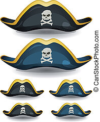 Pirate Hat Set - Illustration of a set of cartoon pirate or...