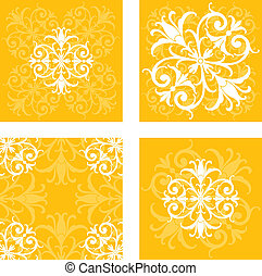 Floral Tile Patterns - A series of intricate square floral...