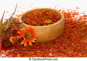 Safflower, False Saffron, Saffron Thistle (Carthamus...