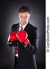 Businessman In Boxing Gloves - Mature Businessman In Boxing...
