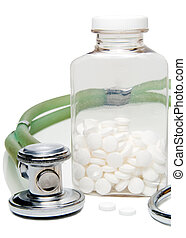 Aspirin - The wonder drug aspirin and a stethoscope