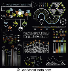 Set of chalkboard infographics and business icons. - Set of...