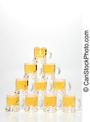 Beer Mugs - A set of Beer Mugs set up in a pyramid