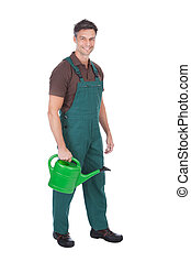 Gardener With Watering Can - Portrait Of Happy Mature Male...