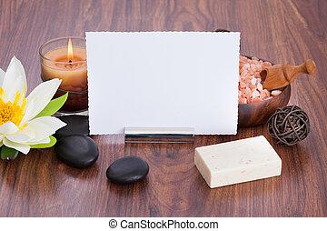 blanco, papel, rodeado, con, balneario, productos