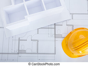House Model On Blueprint - High Angle View Of House Model On...