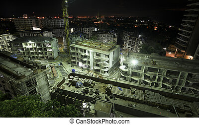 Construction site working at night