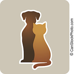 dog and cat silhouettes on light background