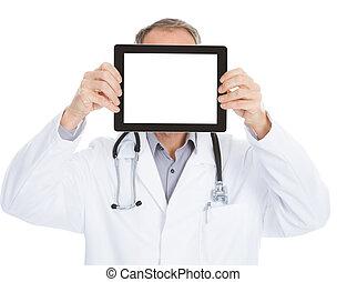 Doctor Showing Digital Tablet