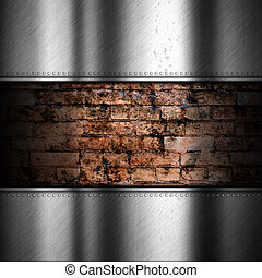 Brushed metal background with brick
