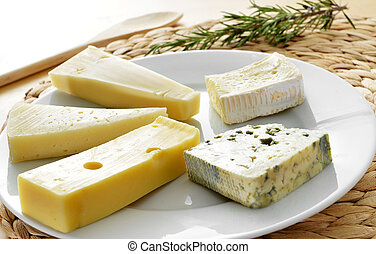 cheese assortment - closeup of a plate with an assortment of...