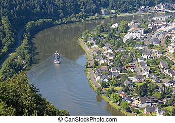 Aerial view of Traben-Trarbach at the river Moselle in...