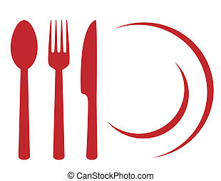 restaurant symbol with plate, fork, knife and spoon