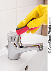 Human Hand Cleaning Faucet - Close-up Of Human Hand Cleaning...
