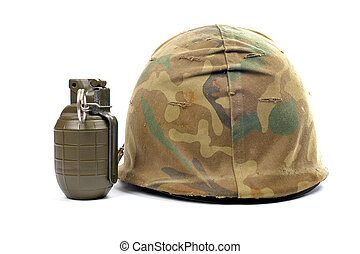 Military helmet and grenade with soft shadow, on white...