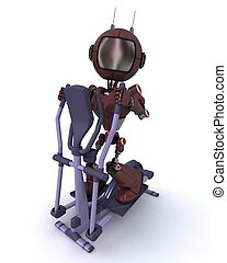 Android at the gym on a cross trainer