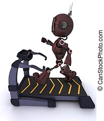 Android at the gym running on a treadmill