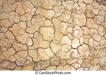Parched earth - Close up of cracked ground in the desert....