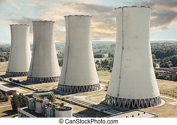 power station - coal power station with four chimneys...