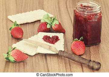 marmelade - toast with strawberry jam in the shape of heart...