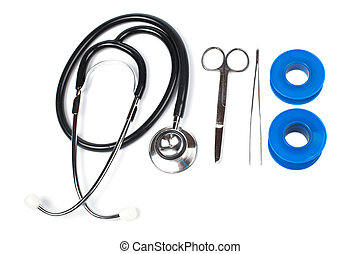 Medical kit - Stethoscope, medical scissors, tweezers and...
