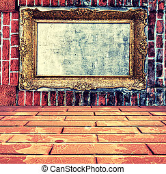 Frame in wall - Empty old frame on the bricks wall