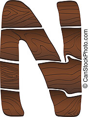 Letter N from wood isolated on the white. Vector