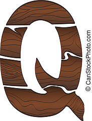 Letter Q from wood isolated on the white. Vector