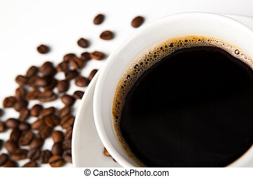 cup of black coffee with roasted coffe beans 2 - cup of...