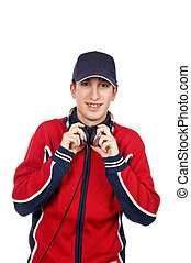 Disc jockey with headphones on white background
