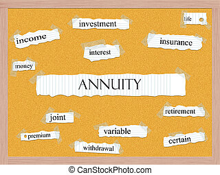 Annuity Corkboard Word Concept with great terms such as...