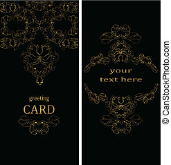 Vintage greeting cards in Victorian style Vector