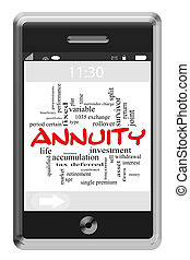 Annuity Word Cloud Concept on Touchscreen Phone