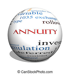 Annuity 3D sphere Word Cloud Concept with great terms such...
