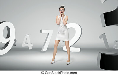 Attractive woman with the abstract background