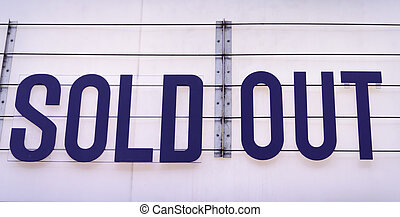 Sold out billboard on a concert venue in blue on white...