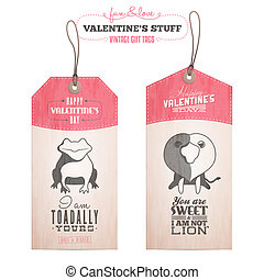 Set of Valentines day gift tags - Vintage Valentines day...