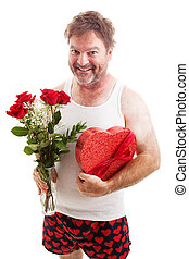 Scruffy Valentines Guy in Underwear - Humorous photo of a...