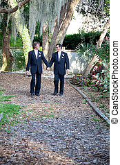 Gay Couple - Walking Through Life Together - Handsome gay...