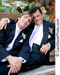 Portrait of Loving Gay Married Couple