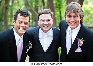 Minister Posing With Gay Wedding Couple - Minister posing...