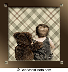 Baby and Best Friend Teddy - Background with baby boy and...