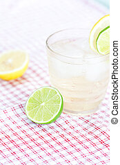 water with lemon and lime in a glass with ice