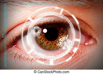 Biometric iris scan security screening - Futuristic...