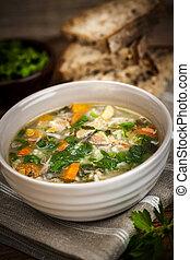galinha, sopa, arroz, legumes