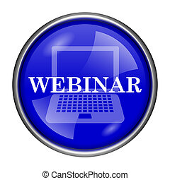 Webinar icon - Round glossy icon with white design on blue...