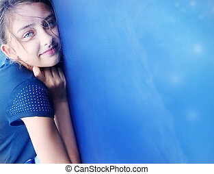 Young teenager posing. - Portrait of pretty beautiful young...