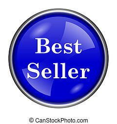 Best seller icon - Round glossy icon with white design on...
