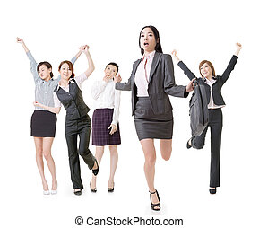 Running business woman lead her excited team, full length...