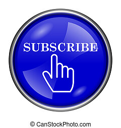 Subscribe icon - Round glossy icon with white design on blue...